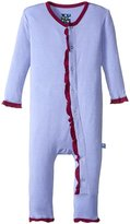 Kickee Pants Fitted Ruffle Coverall (Baby) - Forget Me Not Melody - 0-3 Months