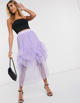 Ivyrevel midi skirt with frills in lilac