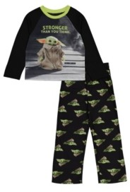 Batman Little and Big Boys Baby Yoda 4-Piece Pajama Set