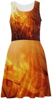 Abbie Miller Music Note Dress Womens Casual Sundress Sleeveless Dress Gold
