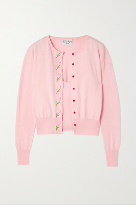 HVN Laura Embroidered Cotton-blend Cardigan And Tank Set - Pink