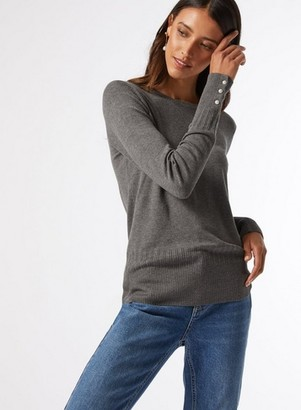 Dorothy Perkins Womens Grey Pearl Cuff Crew Neck Jumper, Grey