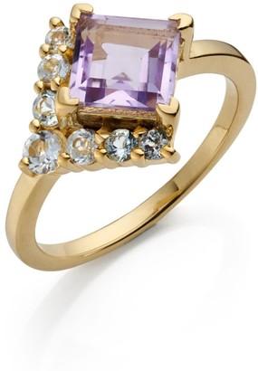 Fool's Gold Amethyst & White Topaz Ring
