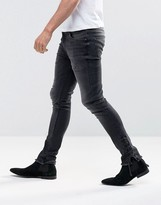 Asos Super Skinny Jeans With Lace Up Hems