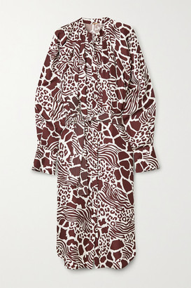 Adam Lippes Belted Printed Silk-twill Midi Dress - White