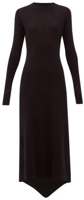 Raey Fishtail Ribbed Cashmere Dress - Black