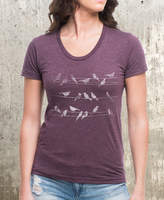 Etsy Birds & Powerlines Women's T-Shirt - American Apparel Women's T-Shirt - Heather Plum