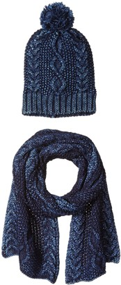 La Fiorentina Women's Cozy Gift Set with Cable Knit Beanie and Scarf