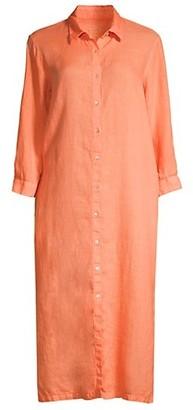 120% Lino Linen Maxi Shirtdress