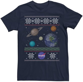 Licensed Character Men's NASA Solar System Ugly Christmas Sweater Tee