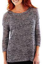 Liz Claiborne Long-Sleeve Mesh Sweater