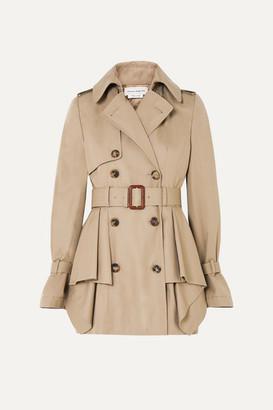 Alexander McQueen Peplum Cotton-gabardine Trench Coat - Beige
