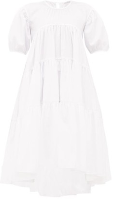 Cecilie Bahnsen Esme Tie-back Tiered Faille Midi Dress - Womens - White