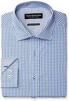 Nick Graham Men's Windowpane Check Poplin Dress Shirt