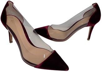 Gianvito Rossi Plexi Burgundy Velvet Heels