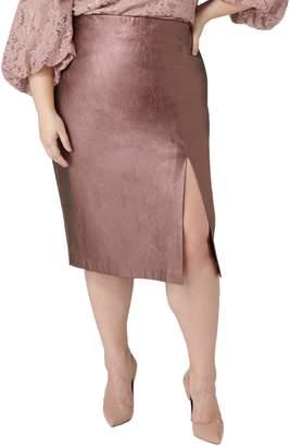 Maree Pour Toi Metallic Faux Leather Pencil Skirt
