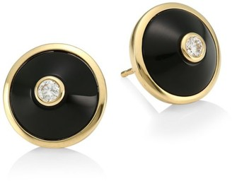 Maria Canale Pyramide 18K Yellow Gold, Diamond & Onyx Disc Stud Earrings