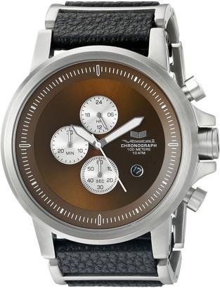Vestal Unisex PLCL03 Plexi Leather Analog Display Quartz Silver Watch