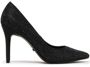 MICHAEL Michael Kors Glittered Crystal-embellished Woven Pumps