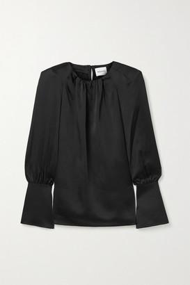 KHAITE Kirsty Cutout Satin-crepe Blouse - Black