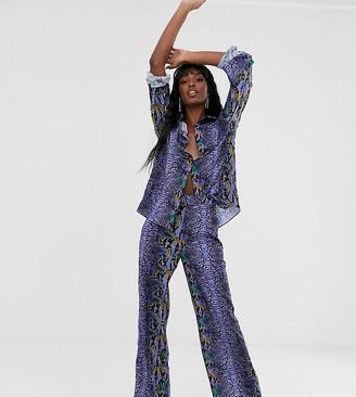 Taller Than Your Average TTYA wide leg trouser in purple python print