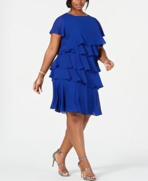 Jessica Howard Plus Size Chiffon Tiered Dress
