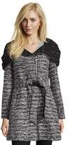 Catherine Malandrino Knit Look Textured Wool Coat With Oversized Hooded Shawl Collar.