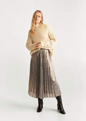 MANGO Metallic pleated skirt gold - M - Women