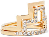 Elizabeth and James Erte set of two gold-tone crystal rings