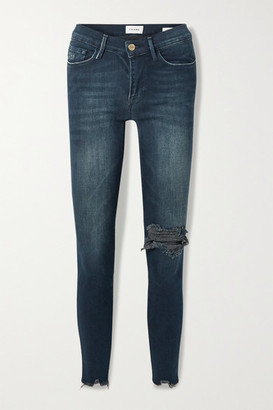 Frame Le Skinny De Jeanne Distressed Mid-rise Jeans - Blue