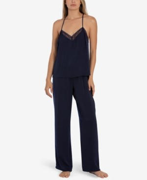 Linea Donatella 2-Pc. Lace Trim Cami & Pants Pajama Set