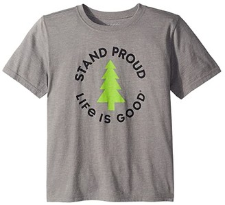 Life is Good Stand Tall Pine Cooltm Tee (Little Kids/Big Kids) (Slate Grey) Boy's T Shirt