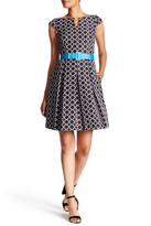 Tahari Pop Belt Jacquard Fit & Flare Dress