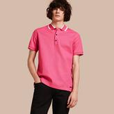 Burberry Striped Collar Cotton Piqué Polo Shirt