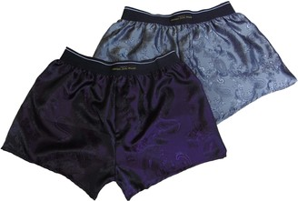 philippe john wright Men's Silk Double Boxer Shorts Bundle SNHINY Silver Paisley and Royal Purple Luxury Classic Boxer Shorts Made in France (M)