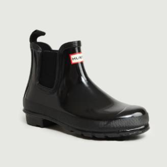 Hunter Black Rubber Chelsea Ankle Boots - 3 | rubber | black - Black/Black