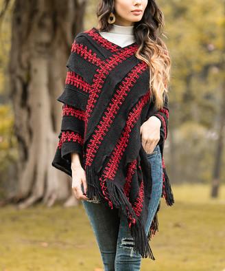 Z Avenue Women's Ponchos Black - Black & Red Abstract Stripe Textured Fringe-Hem Poncho - Women