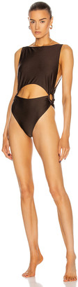 Zimmermann Lulu Ring Cut Out Swimsuit in Chocolate | FWRD
