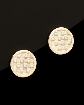 Italian Gold 14K Diamond Satin Finish Basketweave Earrings