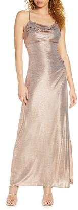 Morgan & Co. Drape Shimmer Gown