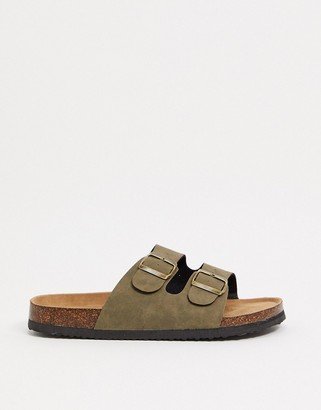 Cotton On double buckle flat sandals in khaki