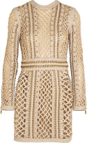 Balmain Woven silk and leather mini dress
