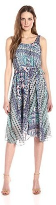 Nanette Lepore Women's Slvls Printed Chiffo Dress with Faux Wrap Skirt
