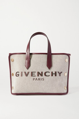 Givenchy Bond Mini Leather-trimmed Studded Canvas Tote - Burgundy