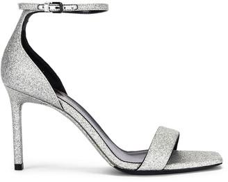 Saint Laurent Amber Ankle Strap Sandals in Argent | FWRD