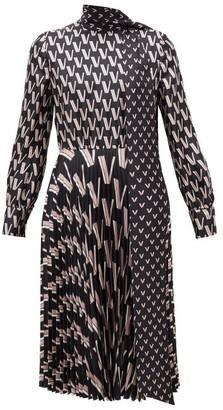 Valentino Pussy-bow V-print Silk-satin Dress - Womens - Black White