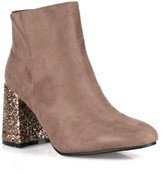 Nature Breeze Ankle High Women's Glitter Heeled Booties in Taupe
