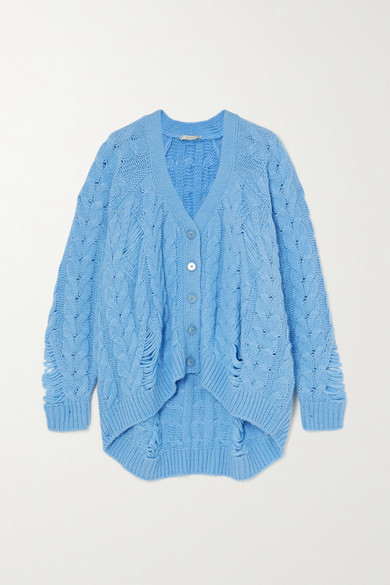 Distressed Cable knit Alpaca blend Cardigan Light blue