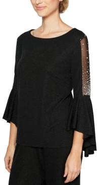 Alex Evenings Embellished Bell-Sleeve Top