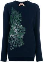 No.21 floral sequin embroidered sweatshirt